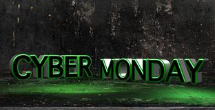 Cyber Monday 3D text on distressed textured background with light rays. Cyber Monday sales banner background. 3D illustration royalty free illustration