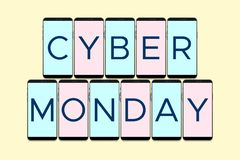 Cyber Monday Day. Poster with Phone vector illustration