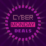 Cyber Monday deals. Super sale Concept. Cyber Monday special bonus. Template promotion poster on discount offer. Design idea element of season hot deal campaign Royalty Free Stock Photos