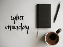 Cyber Monday. Fancy description on photo office style. White background, coffee, pencil, calendar stock illustration