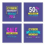 Cyber Monday Flyers Set Mega Sale Banners Design. Vector Illustration Stock Image