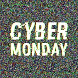 Cyber Monday glitch text. Anaglyph 3D effect. Technological retro background. Online shopping concept. Sale, e-commerce. Retailing, discount theme. Vector Royalty Free Stock Image