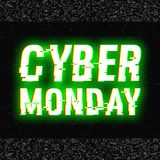 Cyber Monday glitch text. Anaglyph 3D effect. Technological retro background. Online shopping concept. Sale, e-commerce. Retailing, discount theme. Vector Royalty Free Stock Photo