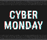 Cyber Monday glitch text. Anaglyph 3D effect. Technological retro background. Online shopping concept. Sale, e-commerce. Retailing, discount theme. Vector Royalty Free Stock Photos
