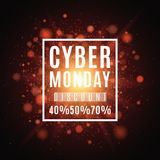 Cyber Monday. Great sale. Brochure for the poster. Background of red lights and glare. A bright flash of light Royalty Free Stock Images