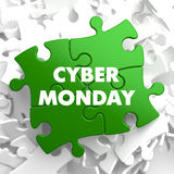 Cyber Monday on Green Puzzle. Royalty Free Stock Image