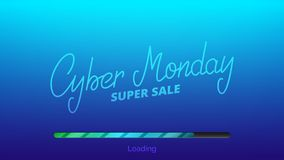 Cyber Monday. Hand lettering Cyber Friday and loading bar. Winter seasonal sale banner.  stock illustration