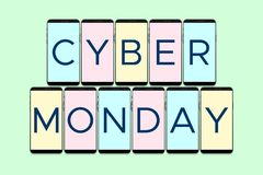 Cyber Monday Holiday. Banner with Phone vector illustration