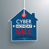 Cyber Monday House Price Sticker. Price sticker with house shape for the cyber monday on the gray background Royalty Free Stock Photography