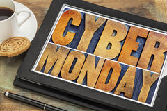 Cyber Monday - internet shopping concept ON TABLET. Cyber Monday - online shopping and marketing concept - word abstract in letterpress wood type printing blocks stock photography