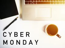 Cyber monday. Laptop and coffee. royalty free stock photo