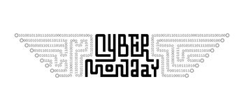 Cyber Monday Lettering with Circuit Board consist of Binary Code Royalty Free Stock Photos