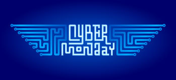 Cyber Monday Lettering with Circuit Board Royalty Free Stock Photos