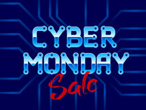 Cyber Monday Lettering with Circuit Board Stock Photos