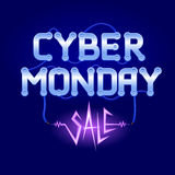 Cyber Monday Lettering with Circuit Board Royalty Free Stock Photo