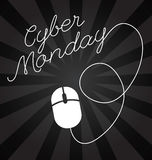 Cyber Monday lettering design, sales. Big sale, discount, advertising, marketing tag. Mouse icon Stock Photo