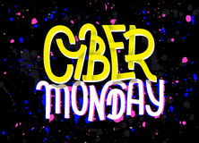 Cyber Monday lettering with a glitch effect on dark background Royalty Free Stock Photo