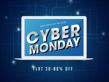 Cyber Monday lettering on laptop screen with 30-80% discount off. Er on abstract blue background stock illustration