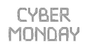 Cyber Monday from the letters of the printed circuit board. Cyber Monday phrase from the letters of the printed circuit board Royalty Free Stock Photos
