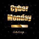 Cyber Monday loading golden sign on black background. Vector illustration. Stock Photography