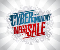 Cyber monday mega sale design Stock Photos