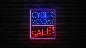 Cyber Monday neon light on wall. Sale banner blinking neon sign style for promo video. concept of sale and clearance.