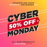 Cyber monday 50% off banner sale vector. online shop discount promotion background template. Eps 10 stock illustration