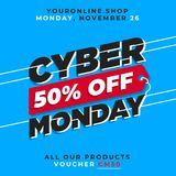 Cyber monday 50% off banner sale vector. online shop discount promotion background template. Eps 10 royalty free illustration