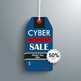 Cyber Monday 50off Price Sticker Emblem. Price sticker with emblem for the cyber monday on the gray background Stock Photo