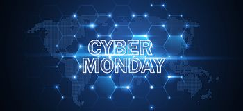 Cyber Monday Online Sale Event. Vector Technology illustration royalty free illustration