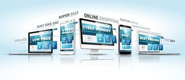 Cyber Monday Online Sale Web Design Concept. Vector royalty free illustration