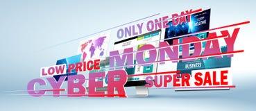 Cyber Monday Online Sale Web Design Concept. Vector vector illustration