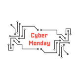 Cyber monday with pcb elements Royalty Free Stock Images