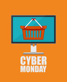 Cyber monday poster in flat design with notebook and shopping bag. Royalty Free Stock Photo