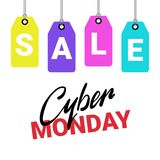 Cyber Monday Poster Sale Text On Shopping Tags Over White Background  Stock Photography