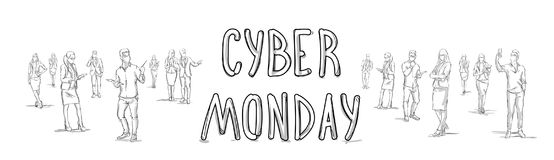 Cyber Monday Poster With Sketch People Group Silhouette Horizontal Banner Stock Image