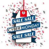 Cyber Monday Price Sticker Ribbon Percents Royalty Free Stock Image