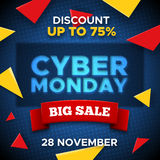 Cyber Monday promo banner vector background Royalty Free Stock Image