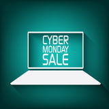Cyber monday promotional banner or poster for. Discounts advertisement. Eps10 vector illustration Royalty Free Stock Photography