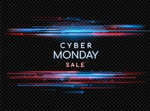 Cyber Monday. Promotional online sale event. Vector technology illustration. Neon light sign with with neon lines, geometric figures. Futuristic label design vector illustration