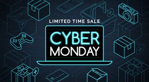 Cyber monday promotional sale shopping. Cyber monday promotional sale: online shopping and e-commerce royalty free illustration