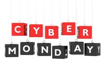 Cyber Monday. Red and black cubes hanging on white background