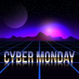 Cyber Monday retro futuristic background. Royalty Free Stock Photo