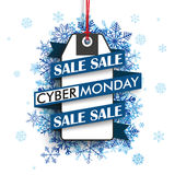 Cyber Monday Ribbon Price Sticker Blue Snowflakes Royalty Free Stock Images