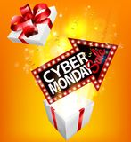 Cyber Monday Sale Exploding Gift Sign. A Cyber Monday Sale arrow sign exploding out of a gift box with a red ribbon bow royalty free illustration