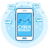 Cyber Monday sale background. Cute happy smartphone icon with speech bubbles. Online shopping concept. E-commerce theme. Royalty Free Stock Images