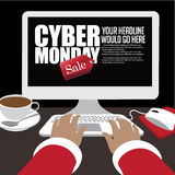 Cyber Monday sale background design with copy space. Stock Image