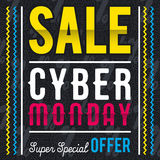 Cyber Monday sale banner on black patterned background, vector stock photography