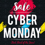 Cyber Monday sale banner on black patterned background, vector royalty free stock image