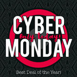 Cyber Monday sale banner on black patterned background, vector royalty free stock images